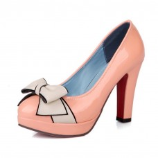 Womens Bows Patent Leather Pumps Shoes