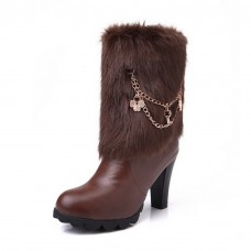 Womens Metal Ornament Wheeled Heel Shoes Solid Imitated Leather Boots