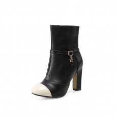 Girls Zipper Wheeled Heel Shoes Formal Imitated Leather Boots
