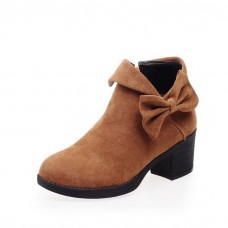 Womens Spun Gold Bowknot Solid Pull-On Imitated Leather Boots