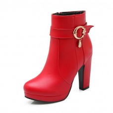 Womens Metal Ornament Zipper Wheeled Heel Shoes Imitated Leather Boots