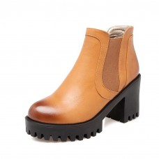 Girls Platform Wheeled Heel Shoes Color Matching Thick Bottom Heel Imitated Leather Boots